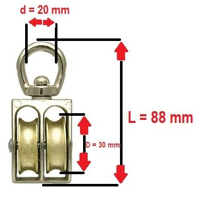 16mm Zinc//Nickel Plated Type: Revolving Single Pulley, 7mm - Max Rope Diameter Single//Double//Revolving Pulley Rope Size 4mm